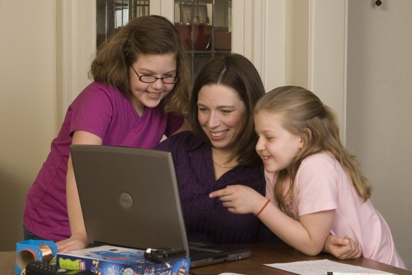 Deb and girls homeschooling